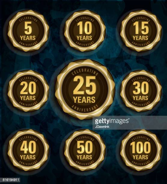 modern set of golden metallic anniversary celebration laurels - anniversary stock illustrations