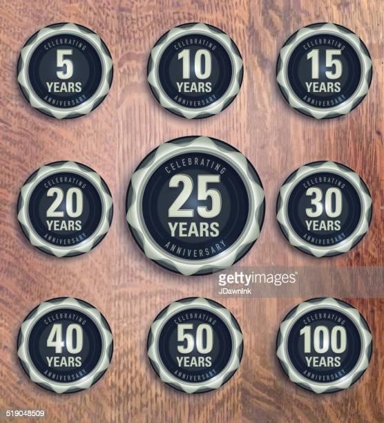 modern set of pewter metallic anniversary celebration laurels - medallion stock illustrations, clip art, cartoons, & icons