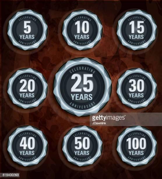 modern set of silver metallic anniversary celebration laurels - medallion stock illustrations, clip art, cartoons, & icons