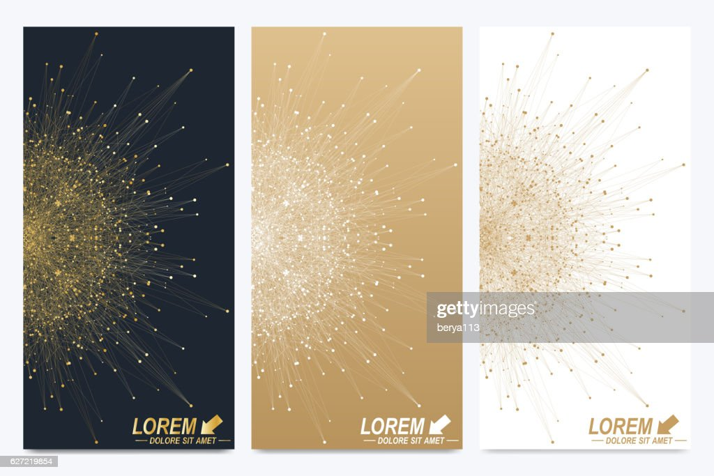 Modern set of vector flyers. Golden cybernetic dots. Lines plexus
