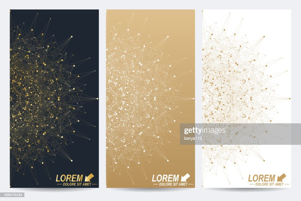 Modern set of vector flyers. Molecule and communication background. Geometric