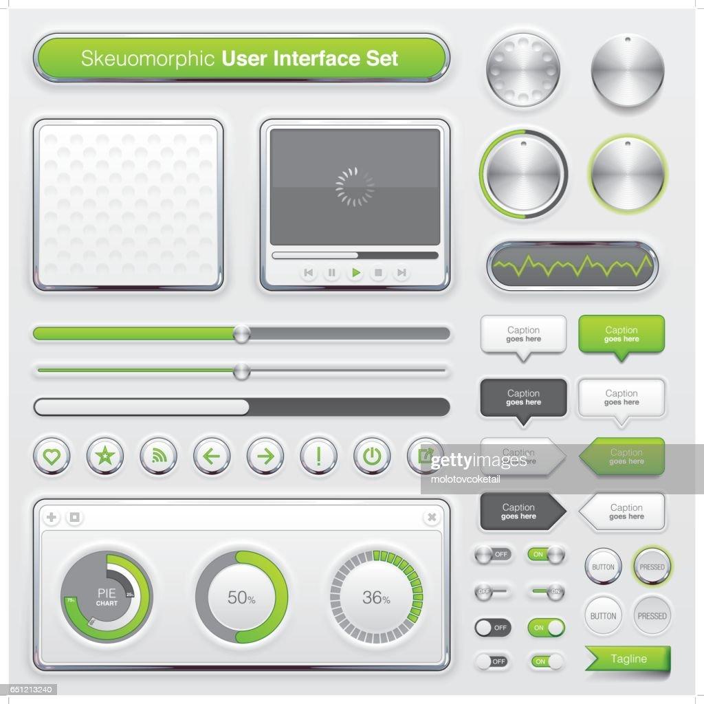 modern skeuomorphic graphical user interface set