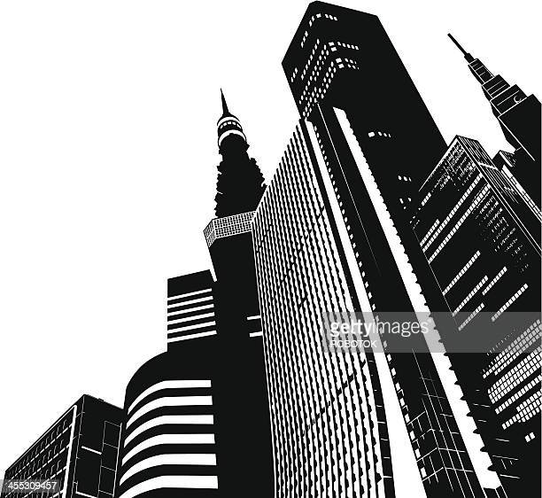 modern skyscrapers - tokyo - tokyo japan stock illustrations, clip art, cartoons, & icons
