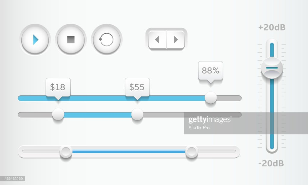 Modern sliders and playback buttons