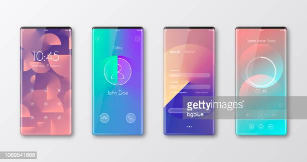 modern smartphone templates isolated on white - ui and trendy backgrounds - liquid crystal display stock illustrations