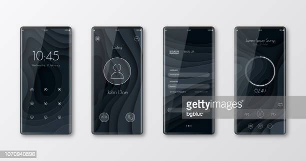 modern smartphone templates isolated on white - ui and trendy backgrounds - interactivity stock illustrations, clip art, cartoons, & icons