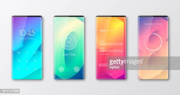 modern smartphone templates isolated on white - ui and trendy backgrounds - touch sensitive stock illustrations