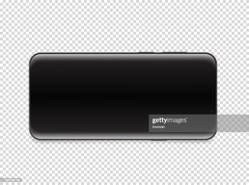 Modern smartphone with blank screen. Vector object isolated on transparent background