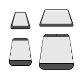 Modern smartphones and tablets icons