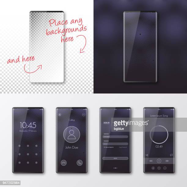 modern smartphones templates - mobile phone isolated on blank background - blank screen stock illustrations, clip art, cartoons, & icons