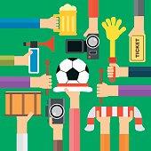 Modern soccer fan flat design