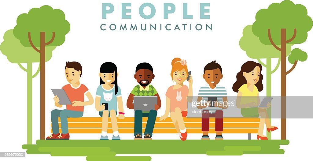 Modern society. People communication concept in flat style