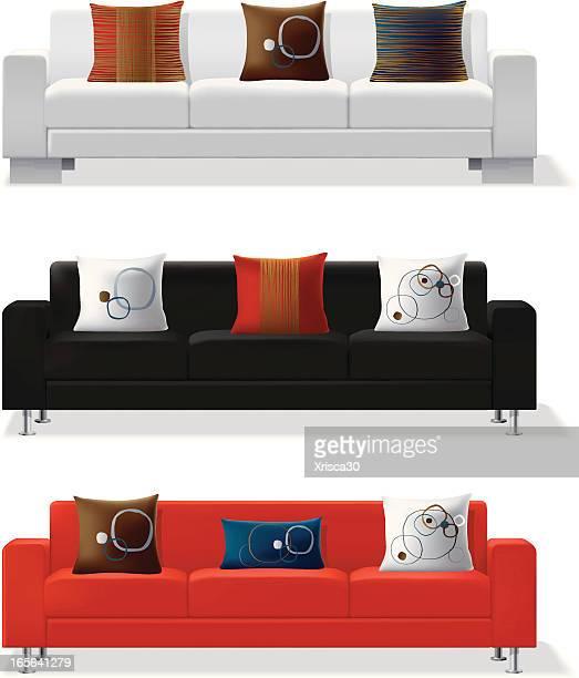 Modern sofa and throw pillows