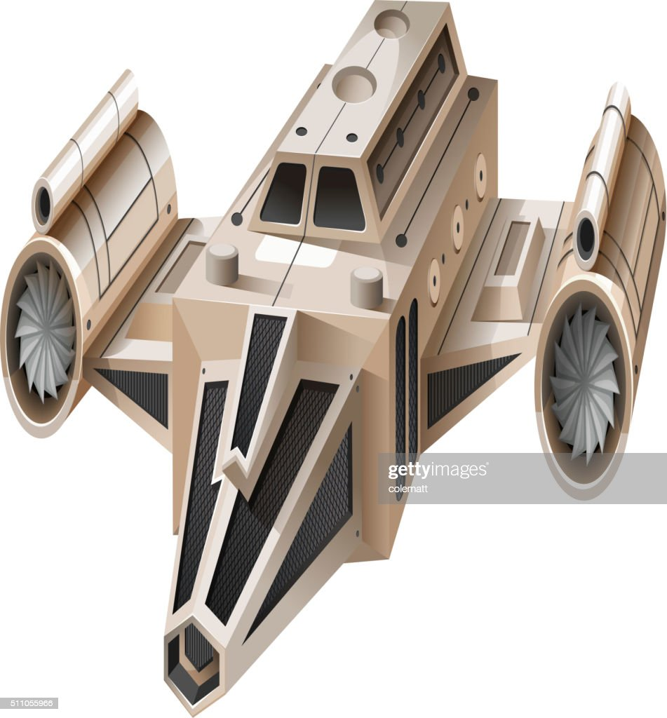 Modern spaceship flying on white background