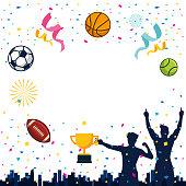 Modern Sports Celebaration Theme Copy Space Card Illustration