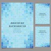 Modern square pattern brochure background set