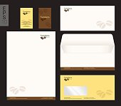 Modern stationery in vector format, letterhead, business card, coffee theme