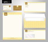 Modern stationery set in vector format, letterhead, business card, envelope