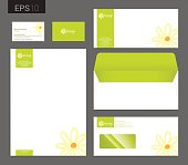 Modern stationery vector format, letterhead, business card, envelope floral theme