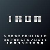 Modern strong Iron alphabet lettering.
