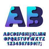 Modern stylized liquid alphabet font.