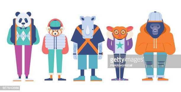 ilustrações, clipart, desenhos animados e ícones de ilustração em vetor simétrico moderno de 5 vestidos conjunto de animais em extinção - animais em extinção