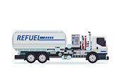 Modern Tank Truck Refueler Airport Ground Support Vehicle Equipment Illustration