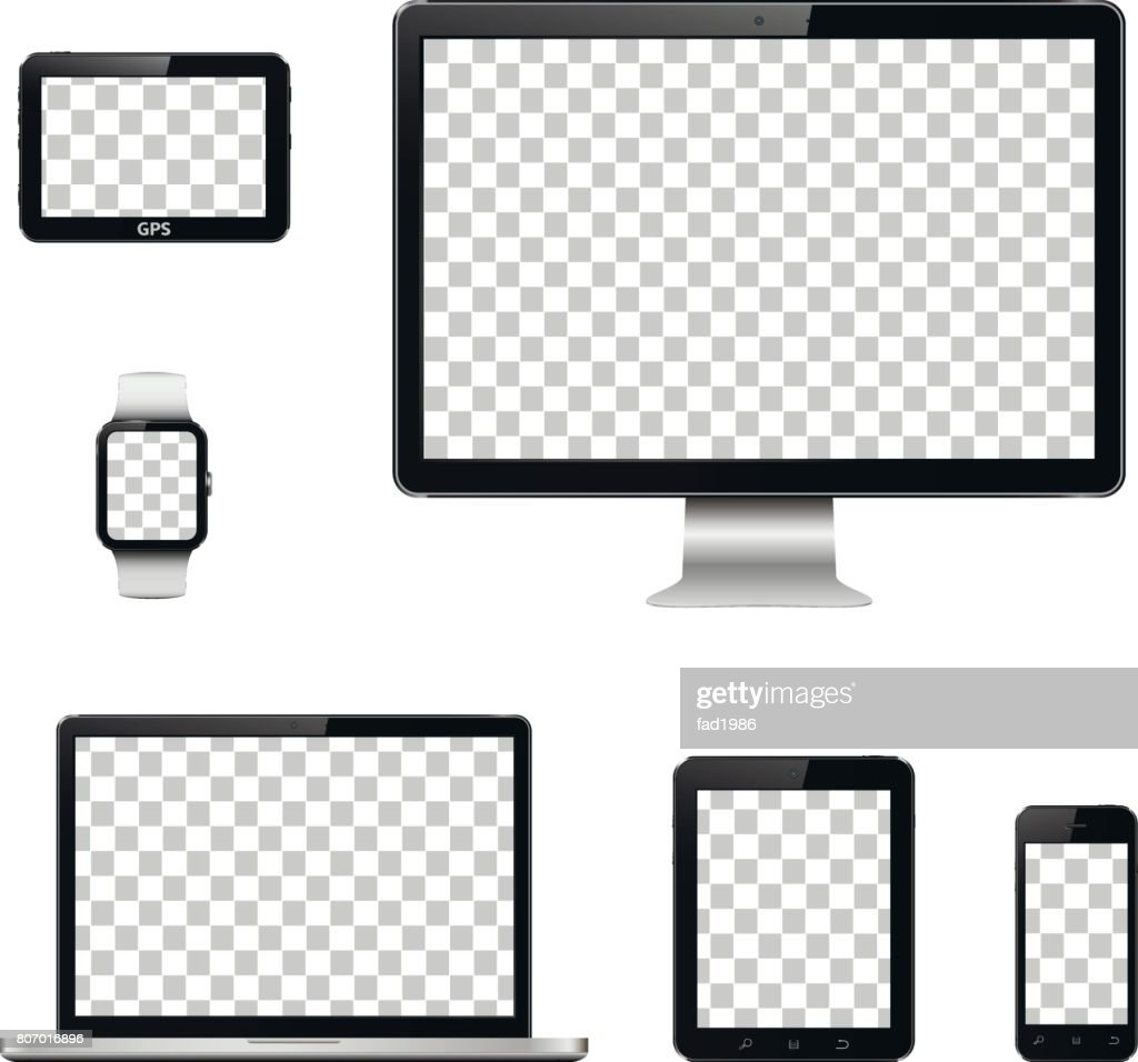 Modern technology devices with transparent wallpaper screen isolated