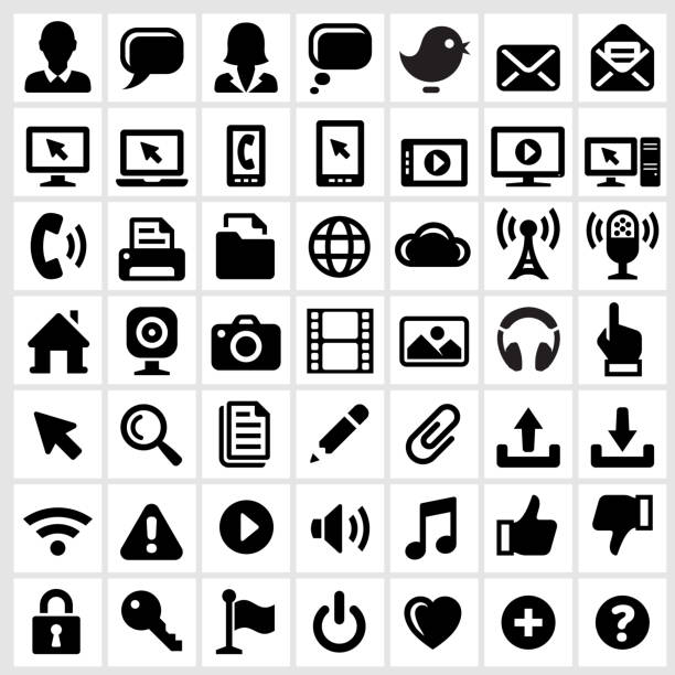 Modern Technology Internet Social Communications Royalty Free Vector Interface Icons Wall Art