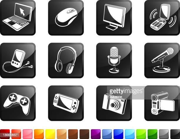 modern technology royalty free vector icon set stickers - joystick stock illustrations, clip art, cartoons, & icons