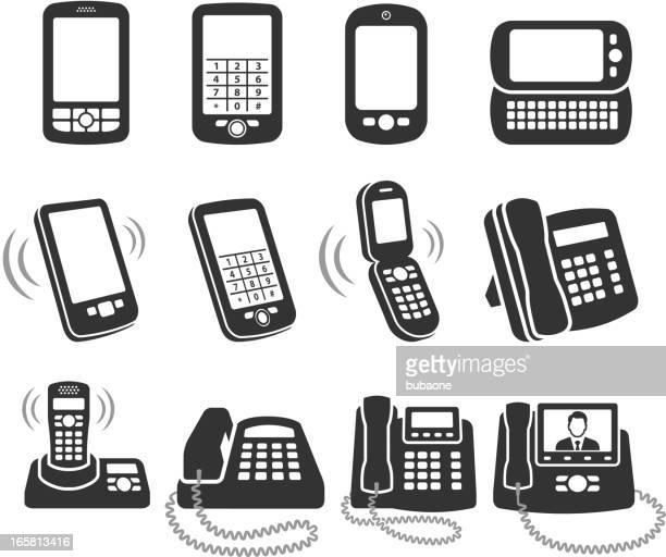 Modern telephone black and white royalty free vector icon set