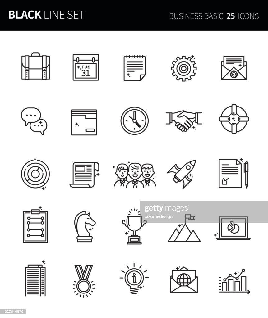 Modern thin black line icons set of business basic. Premium quality outline symbol set. Simple linear pictogram pack. Editable line series