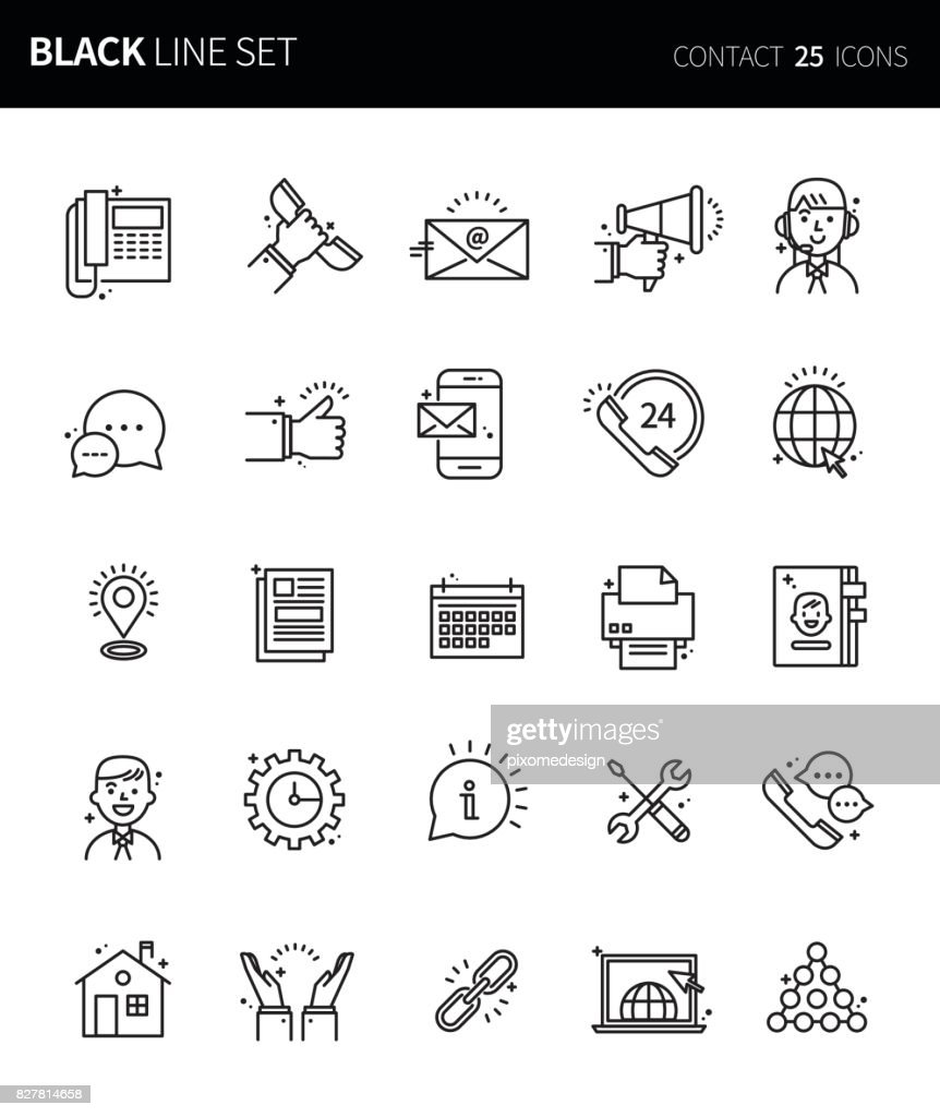 Modern thin black line icons set of business contact. Premium quality outline symbol set. Simple linear pictogram pack. Editable line series