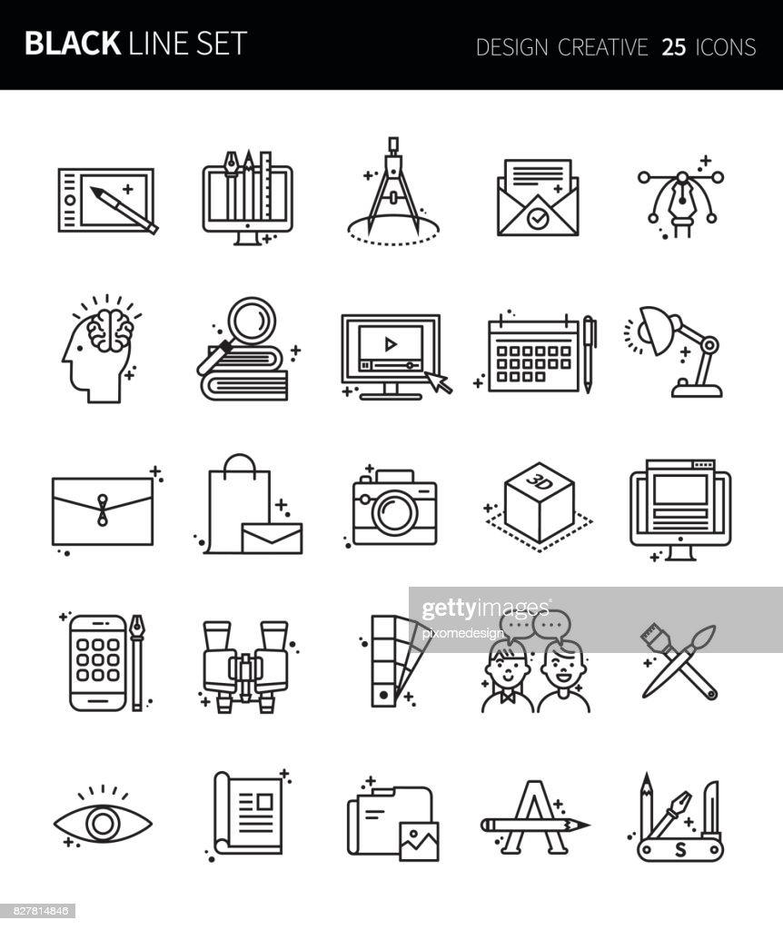 Modern thin black line icons set of design creative. Premium quality outline symbol set. Simple linear pictogram pack. Editable line series