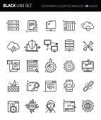 Modern thin black line icons set of network & cloud technology . Premium quality outline symbol set. Simple linear pictogram pack. Editable line series