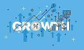 Modern thin line design concept for GROWTH website banner