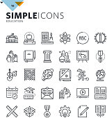 Modern thin line education icons
