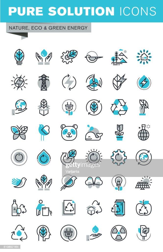 Modern thin line flat design icons set of ecology