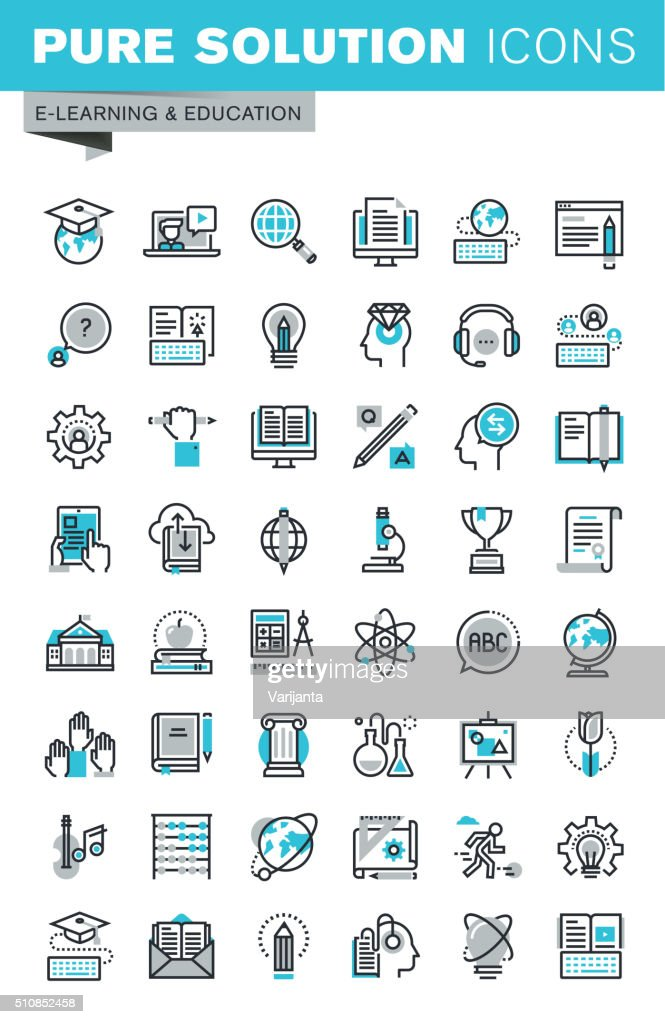 Modern thin line flat design icons set of online education