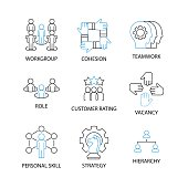 Modern Thin Line Icon and Pictogram with word workgroup, cohesion, teamwork, role, customer rating, vacancy, personal skill, strategy hierarchy, Business and ManagementConcept, Flat thin line designed vector Illustrator
