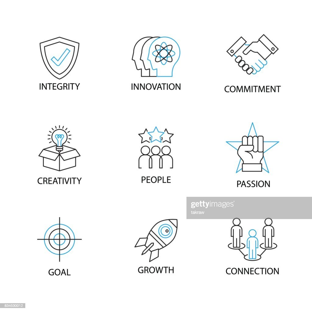 Modern Thin Line Icon or Pictogram with word integrity,innovation,commitment,creativity,people,passion,goal,growth,connection. Business Core Value Concept.