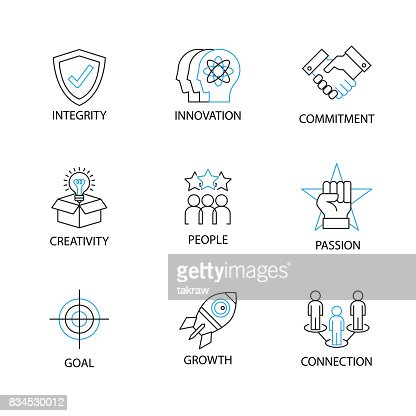 Modern Thin Line Icon Or Pictogram With Word Integrityinnovationcommitmentcreativitypeoplepassiongoalgrowthconnection Business Core Value Concept High Res Vector Graphic Getty Images