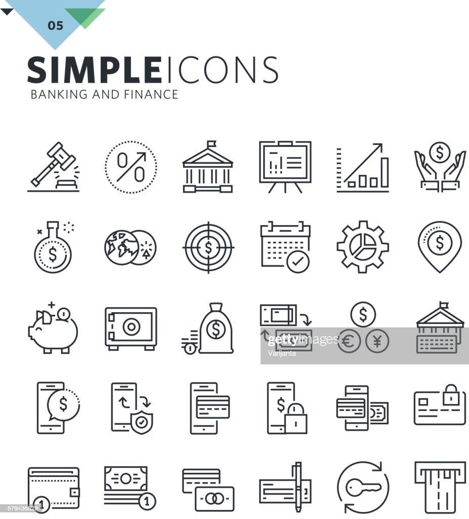 Modern thin line icons of banking