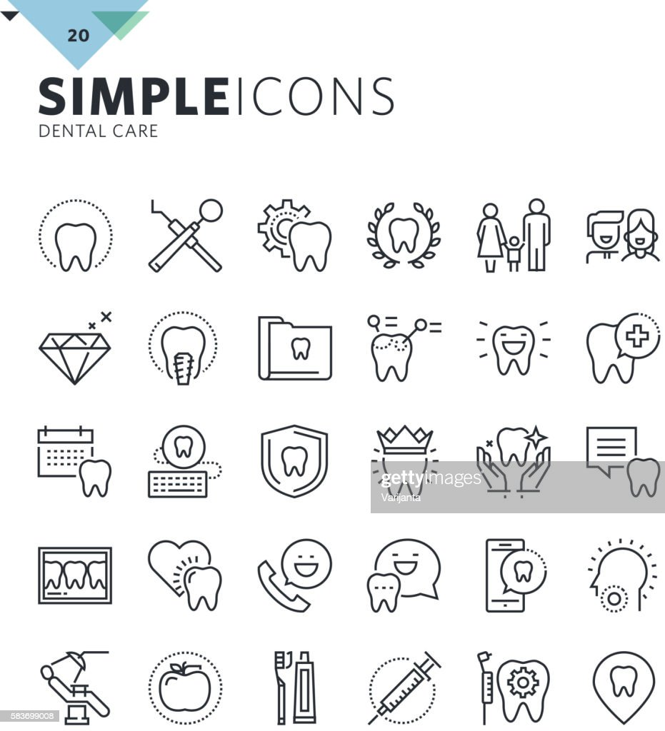 Modern thin line icons of dental care and dentist services