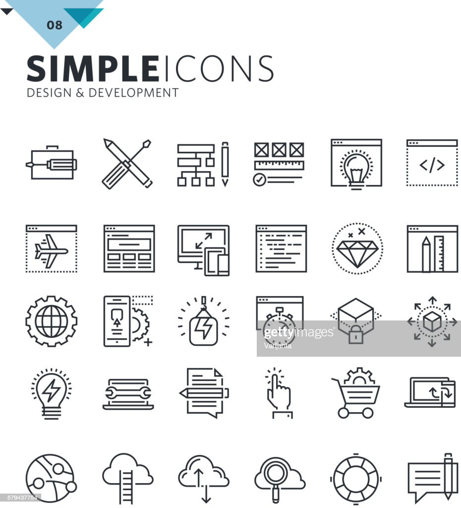 Modern thin line icons of design and development