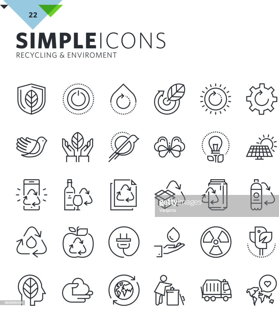 Modern thin line icons of ecology and recycling