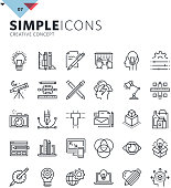 Modern thin line icons of graphic design and creative work