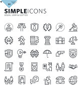 Modern thin line icons of law and lawyer services