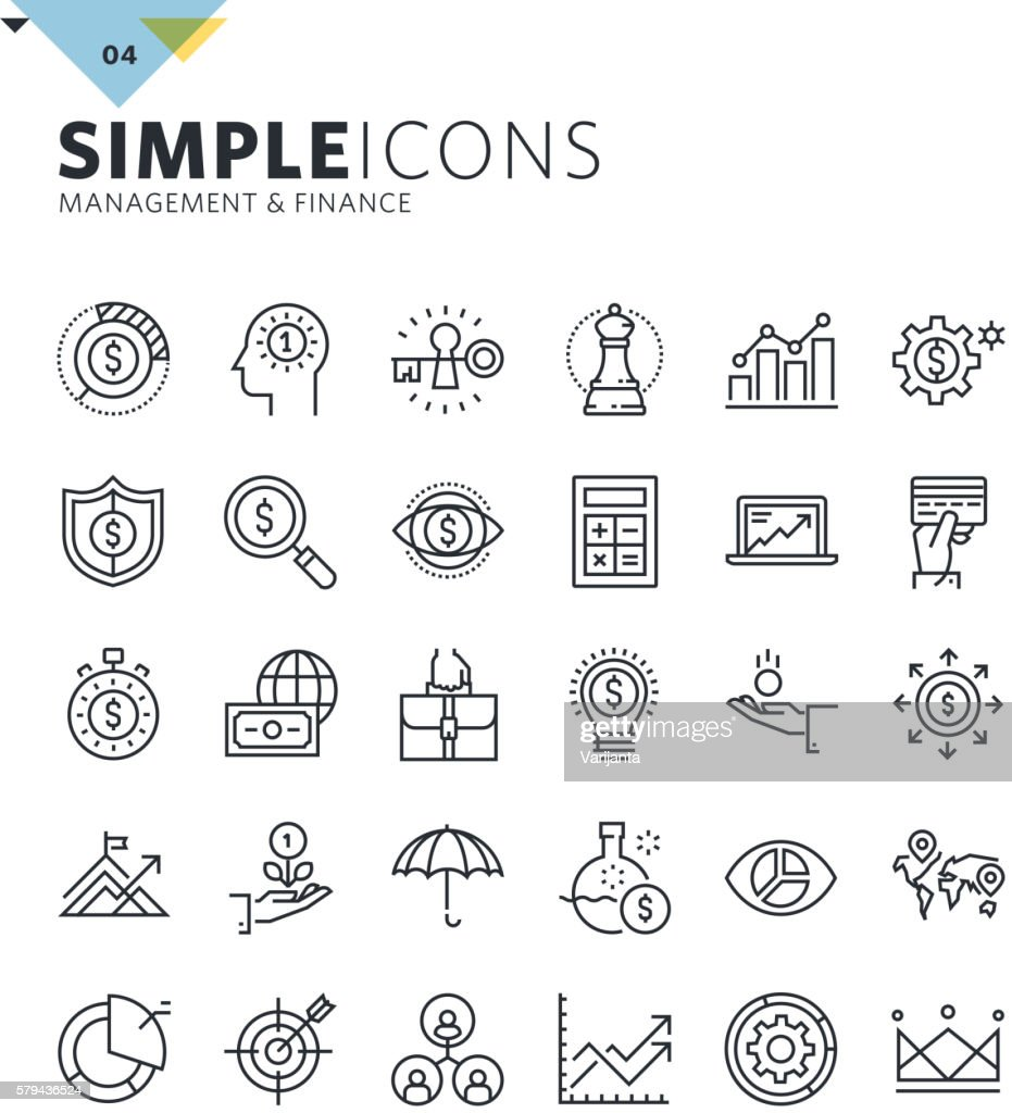 Modern thin line icons of management and finance