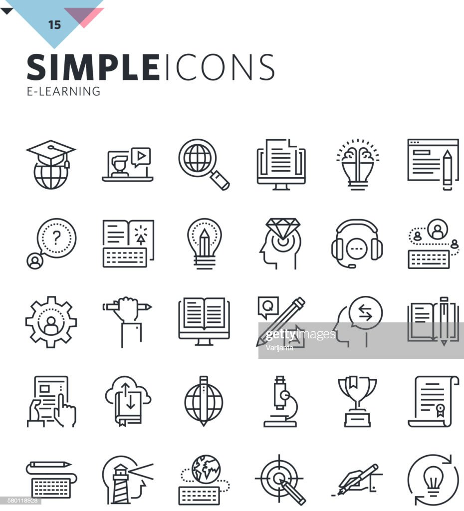 Modern thin line icons of online education and e-learning